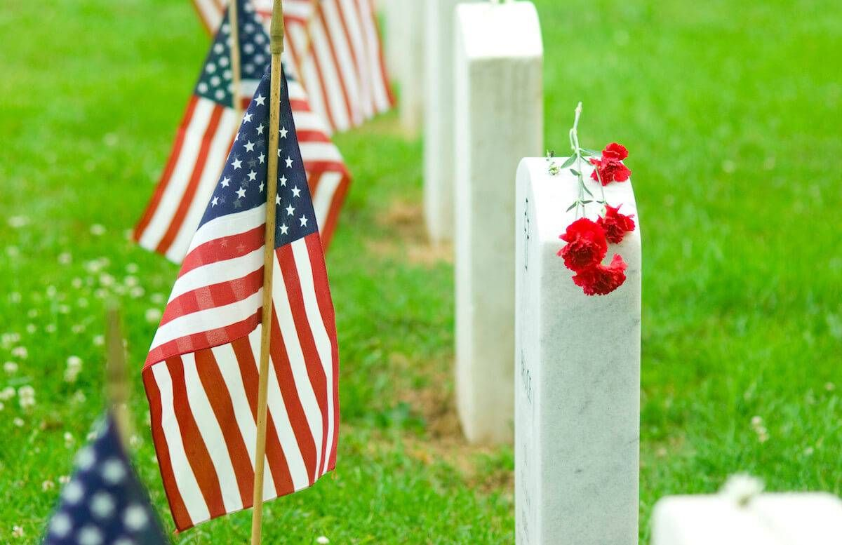 Graves with American flags