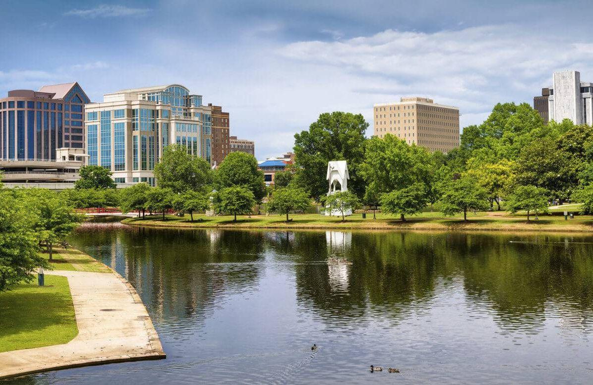 Cityscape scene of downtown Huntsville, Alabama