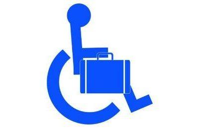 wheelchair accessible icon holding a briefcase