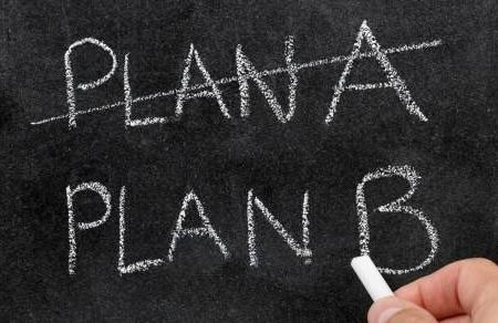 chalkboard with Plan A crossed out and Plan B written below