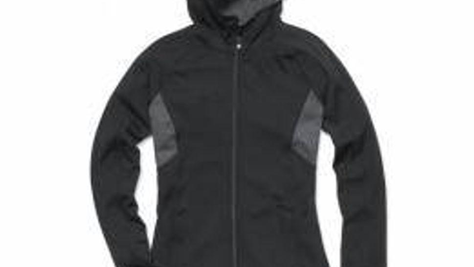 Joe Fresh stretchable, formfitting hooded zipper jacket with contrasting panels.