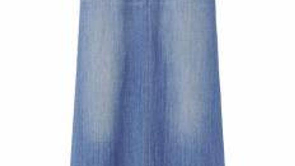 Uniqlo blue denim jeans-style A-line skirt.