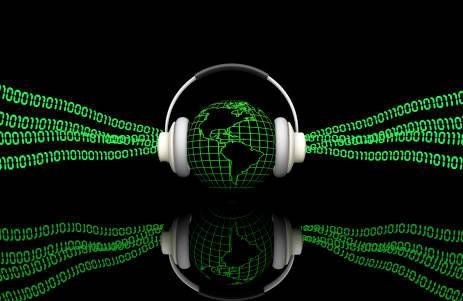 binary code emanating from headphones