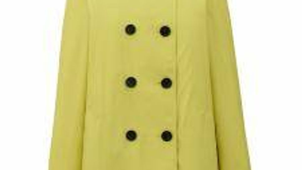Uniqlo short, double-breasted raincoat with accompanying self-belt.