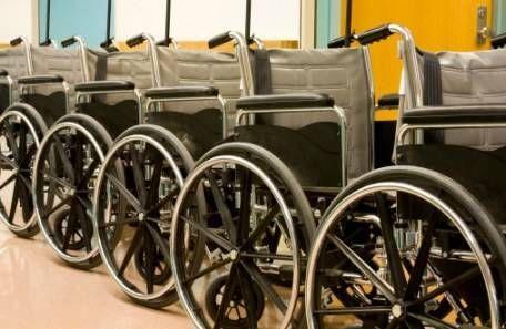 row of wheelchairs