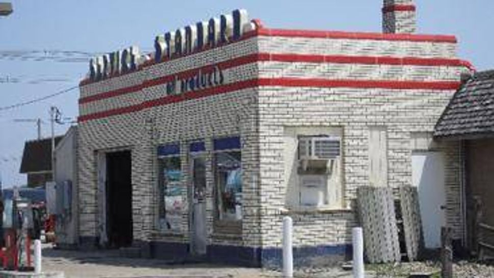 1940's style gas station has seen decades of use in brooklyn, iowa