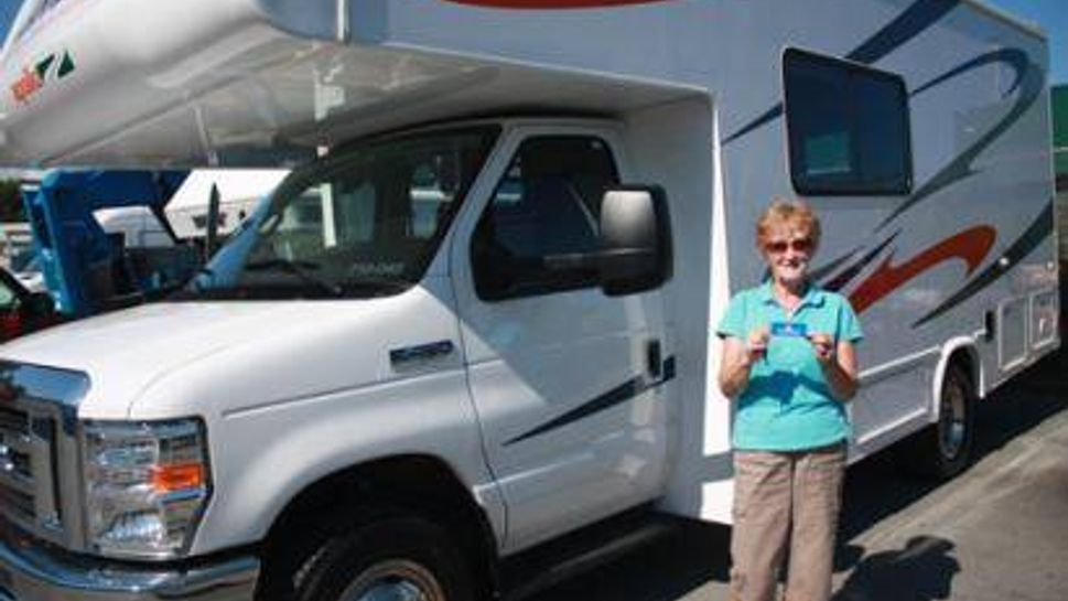 My mother with the keys to our CanaDream RV