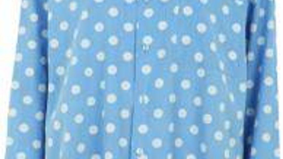 Topshop bright blue big-pocket shirt with outsized polka dots