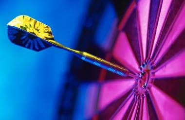 Colorful dart on target