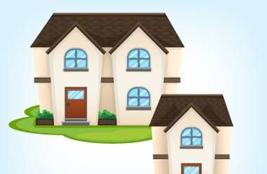 Illustration of larger home and smaller home