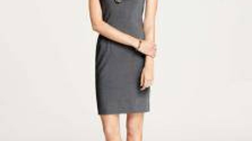 Gray sheath dress great for mixing and matching to wear for multiple interviews
