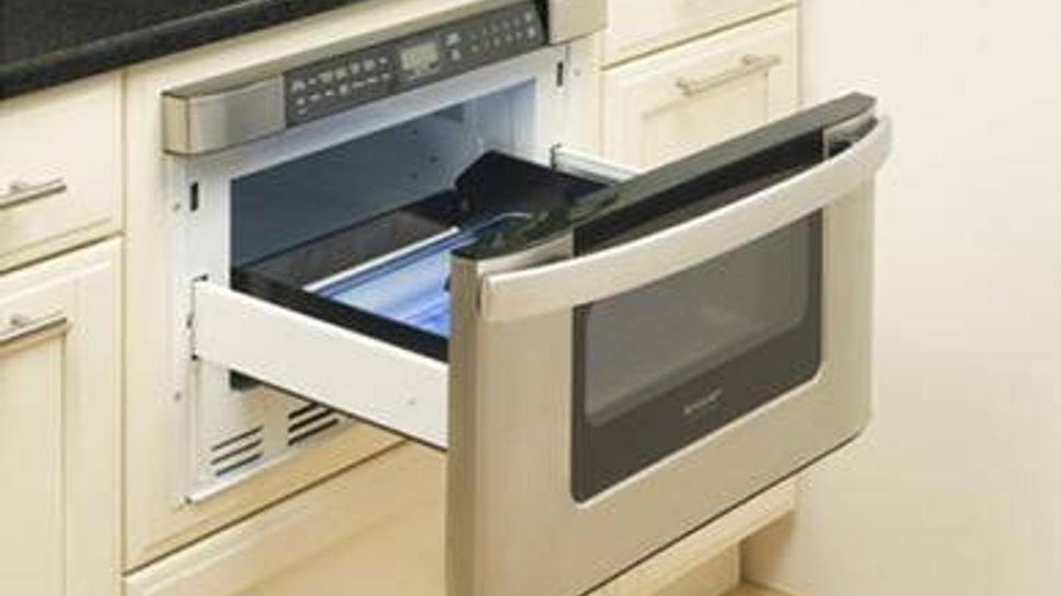 This microwave drawer prevents reaching.