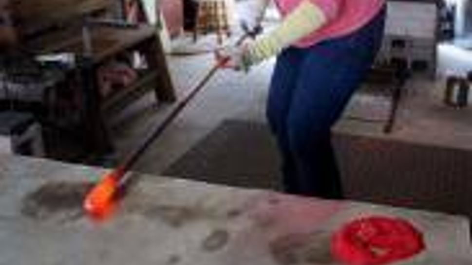 Glass blowing instruction on the Cabot Trail