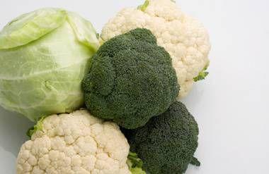 Broccoli cabbage and cauliflower