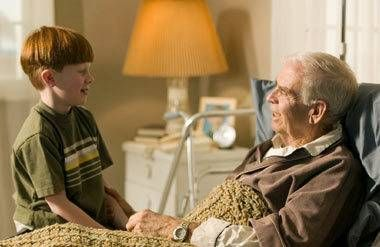 Man talking with his grandson
