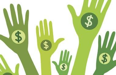 Illustrated hands giving money
