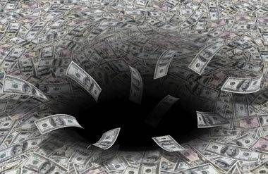 Money going into a black hole