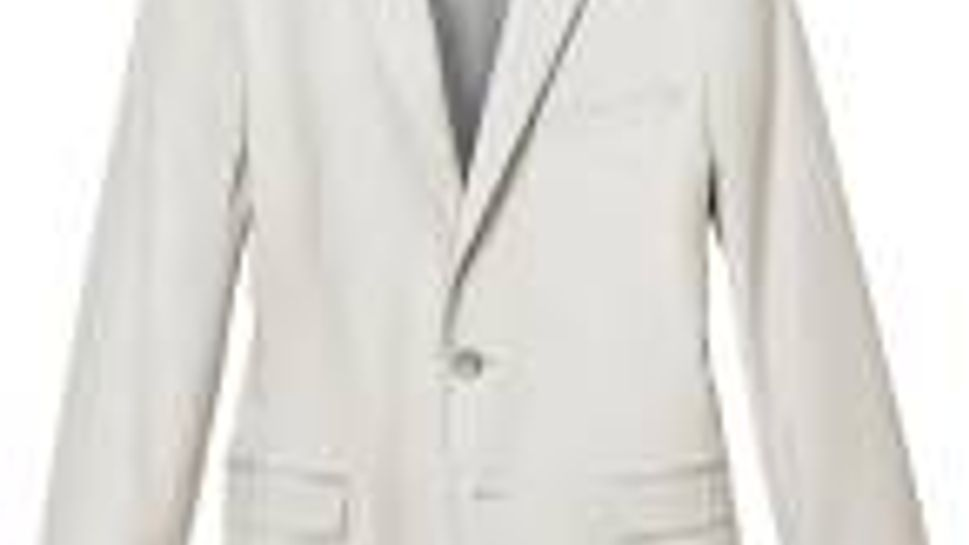 H&M fitted blazer in a herringbone pattern, with front welt pockets.