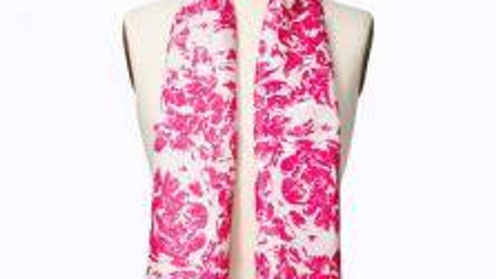 Add color around your face with a scarf in flattering hues for job interviews.