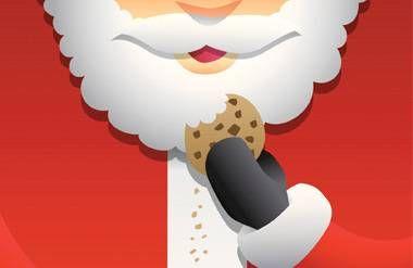 Illustrated Santa eating cookie with milk