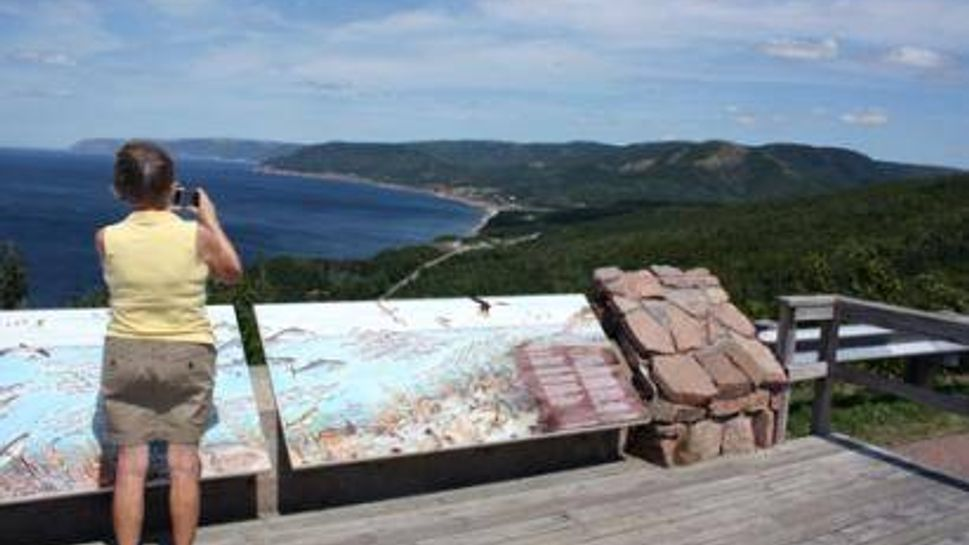 Mom at a Cabot Trail lookoff at Red River