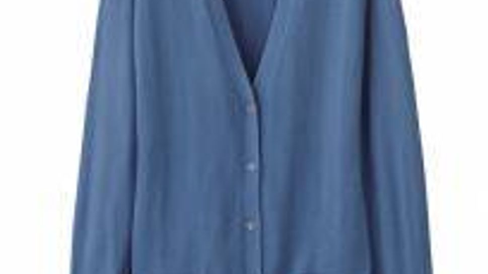 Uniqlo extra-long Henry Higgins V-neck cardigan with generous bucket pockets.