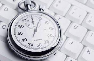 a stopwatch on a keyboard