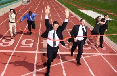 people running toward finish line