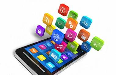 a smart phone with apps floating up