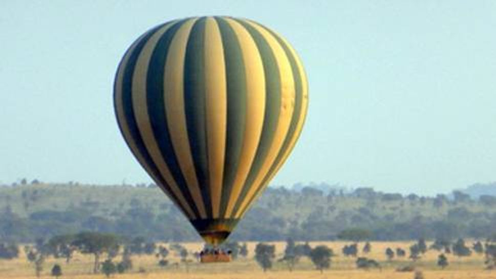 A hot air balloon over the Serengeti National Park