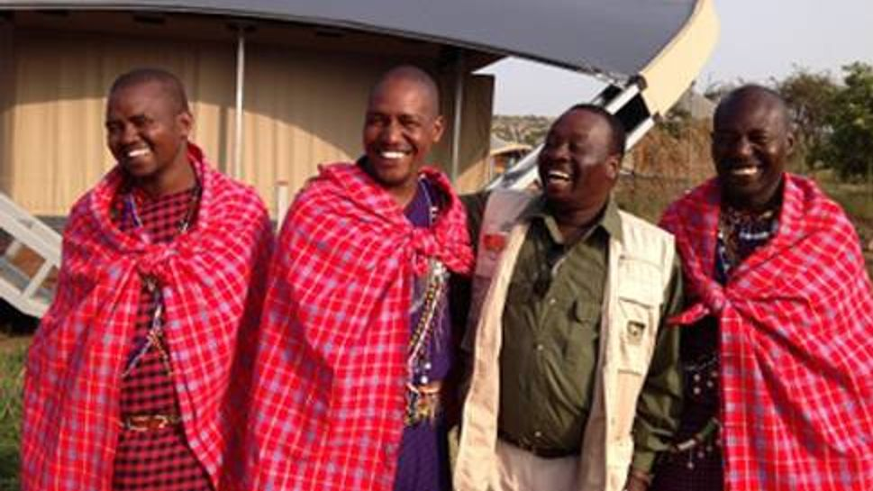Tour Guide Philip Rono with Masai Mara tribesman local guides at Mahali Mzuri