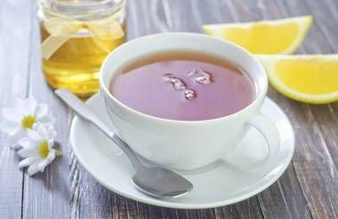 Chamomile tea with honey and lemon