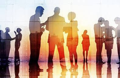 Silhouette of people networking