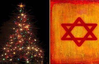 Christmas tree and Star of David symbolizing tension Jews feel at Christmas.