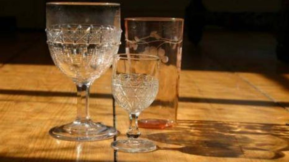 Antique drinking glasses.