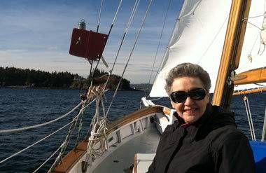 Barbara Kazdan on a boat in Maine