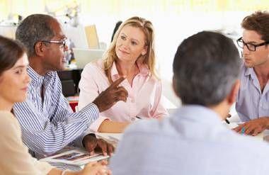 People meeting in a job club