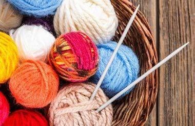 Basket of knitting materials