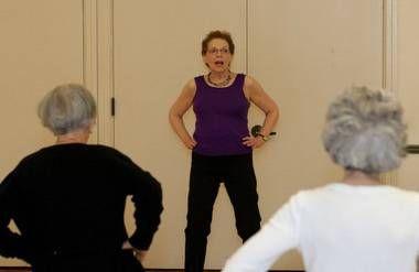 Mary Huff Stevenson teaching Zumba class