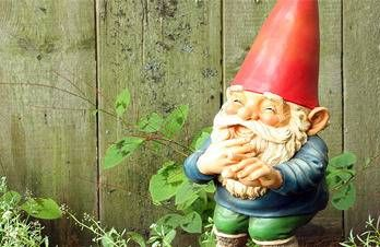 A garden gnome laughing can add to your curb appeal.