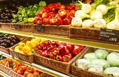 Fruits and vegetables at the grocery