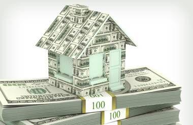 Illustration of money house on stack of money