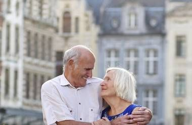 Retired couple in international city