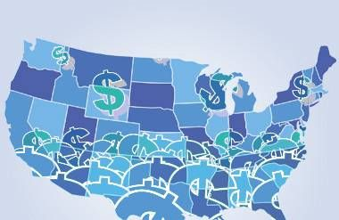 Illustration of United States map with dollar signs