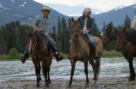 couple on horseback by river, mountains in background