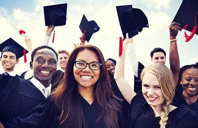 Group of high school seniors at graduation