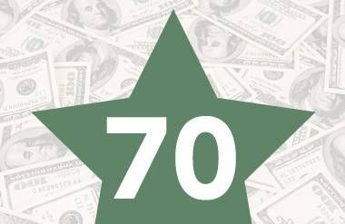 Age 70 in star over money