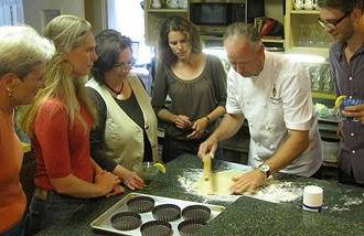 cooking students and chef instruction at the Hartstone Inn