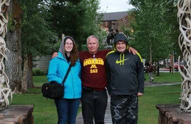 Elsa, Dan, and Nathan on their trip to Yellowstone