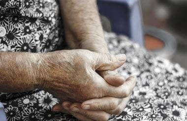 Hands of older woman